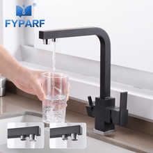 FYPARF Black Matte Square Kitchen Faucets Swivel Drinking Water Faucet 3 Way Water Filter Purifier Tap Kitchen Sinks Water Mixer