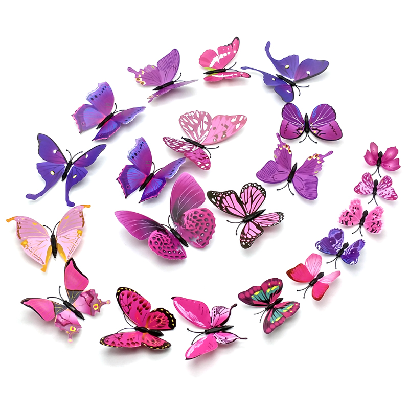 Colorful DIY Butterfly Wall Stickers Decoration For Home Decor, Kids Rooms ,3D Vinyl Festival Party Wedding Decorations(China)