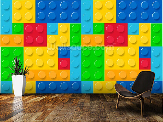 Custom wallpaper for children. Building Blocks,3D