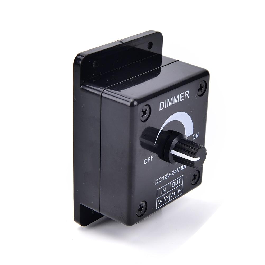 Black DC 12V 24V 8A Adjustable LED Dimmer Switch Brightness Lamp Bulb Strip Driver Single Color Light Power Supply Controller