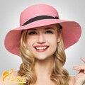 2016 Moda panamá casquillo hecho a mano de estilo resort de playa Sun sombreros de Verano de Las Mujeres de paja sombrero chapeu Hueso gorras de playa sombrero B-2323