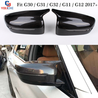 G30 M5 Look Carbon Fiber Mirror Cover Replacement Mirror Caps for BMW G30 G31 GT G32 G11 G12 5 6 7 Series LHD Side Door Mirror