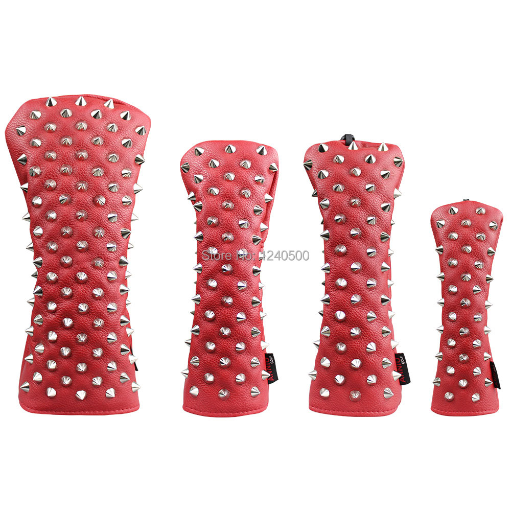 Red Rivets Golf Head Covers For Driver Fairways #3 #5 Hybrids Complete Set Woods Clubs Headcovers For Men Women