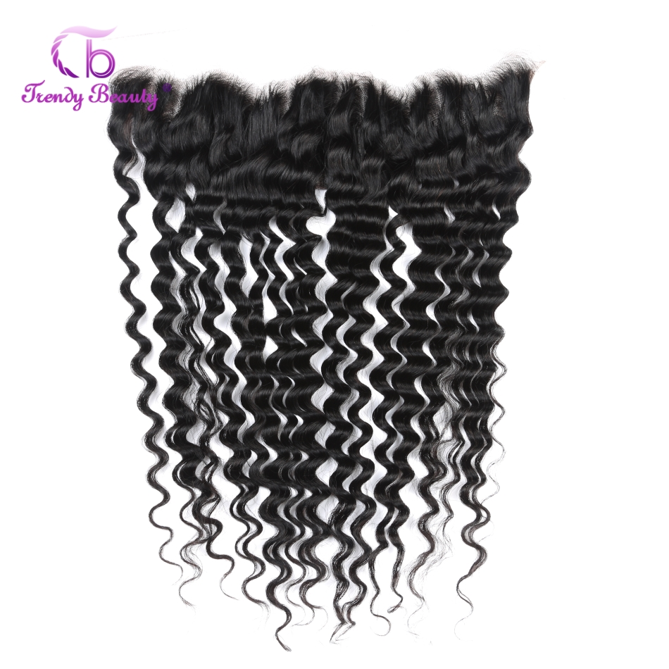 Trendy Beauty Brazilian Deep Wave 13*4 Ear to Ear Free Part Lace Frontal Closure 100% Human Hair Natural Black 10-20 Inches