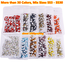 Free Ship about 1500pcs Mix Size Color Nail Rhinestones Colorful Strass ss30 ss3 swarovsky Crystals Decorations