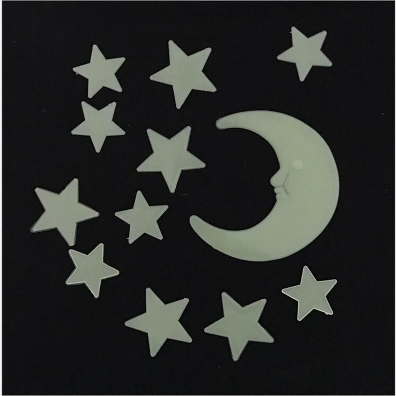 1SETS Cartoon Stars Moon Luminous Stickers Fluorescent Self-adhesive Wall Childrens Room Bedroom