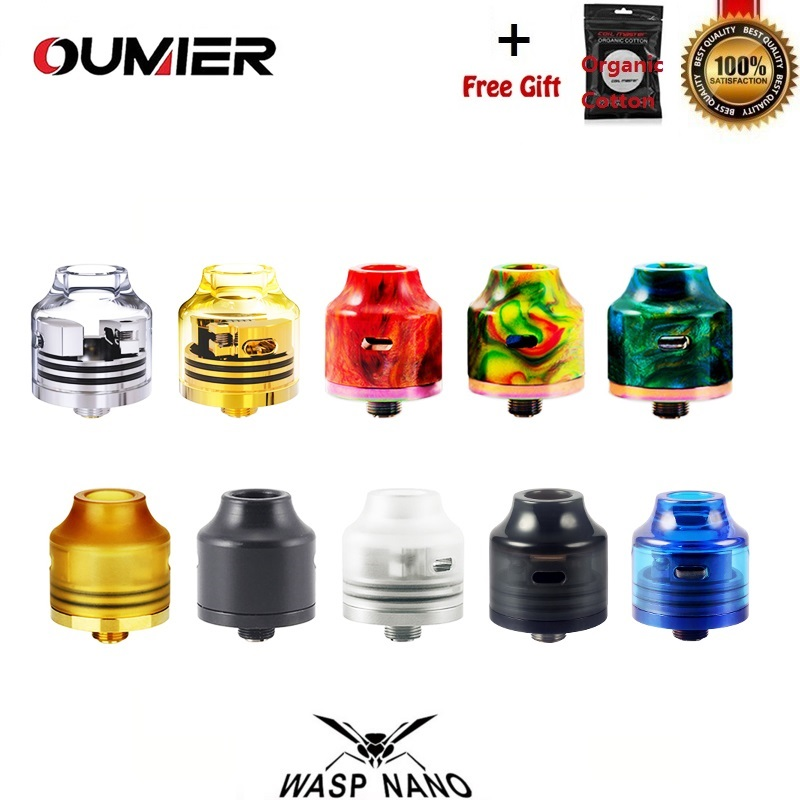 Original OUMIER Wasp Nano RDA 22mm Vape Tank Rebuildable Dripping Tank Atomizer 510 Drip Tip Fit 510 Thead SMOK Box Mod VapeR