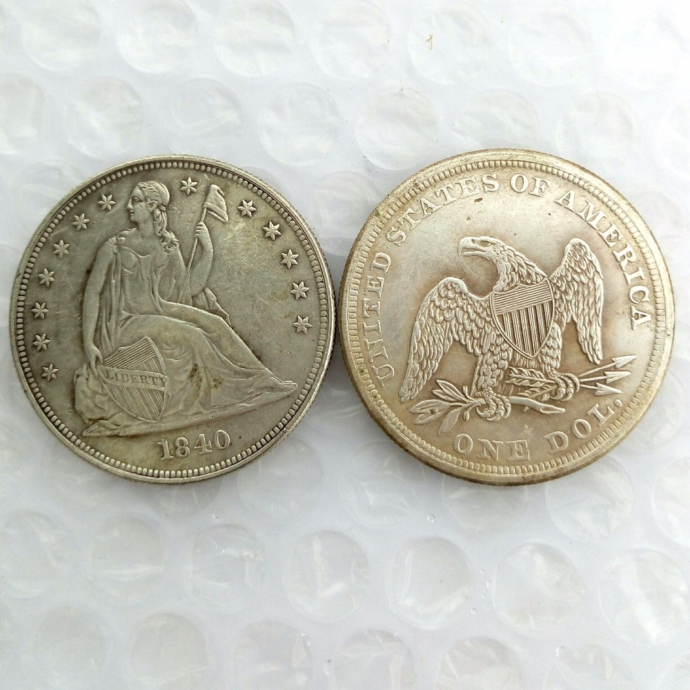 90% Silver Date 1840 seated Dollar Copy Coin - High Quality