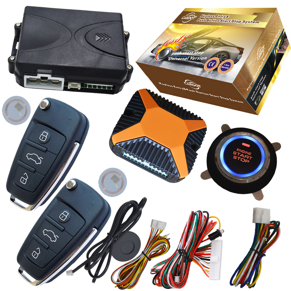US $48 9  flip key remote keyless entry central lock system remote start or  stop engine by lock or unlock action without pke and car alarm-in Burglar