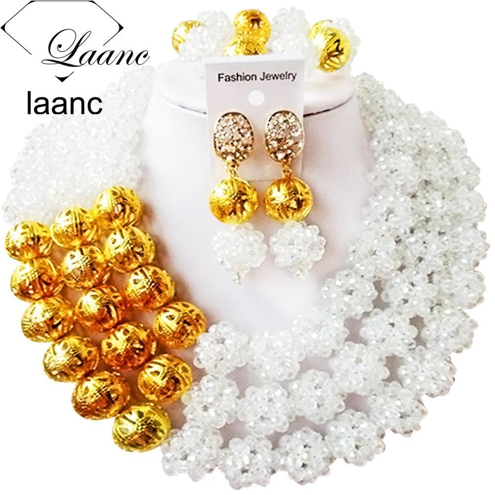 Роскошные! Модный Белый хрустальный шар костюм ювелирные изделия нигерийские Свадебные африканские бусины комплект ювелирных изделий ABC218 - Окраска металла: Clear