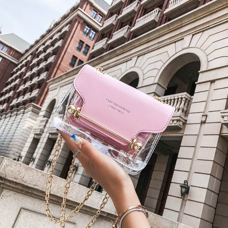 New Hot Fashion Women Gold Chain Small Square Shoulder Bag Clear Transparent PU Composite Messenger Bags New Female Handbags