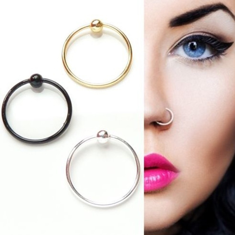 2 Piece Fashion Nose Ring Plain Ball Nose Cartilage Tragus Ring Hoop Punk Style Women Sexy Piercing Body Jewelry