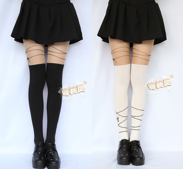 Soft Ribbon Tights Vintage Pantyhose Japan Girls Lolita -4269