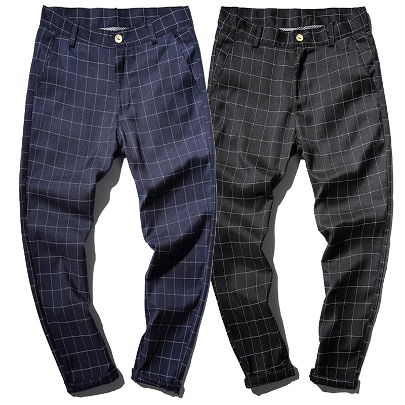 100 Cotton Spring Business Casual Male Jogger Checked Trousers Plaid Pants Men Skinny Design Navy Black