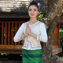 Ethnic Special Uniform Waiters Life Workwear China YunNan Xishuangbanna Dai Traditional Clothing White Long Sleeve Green Skirt