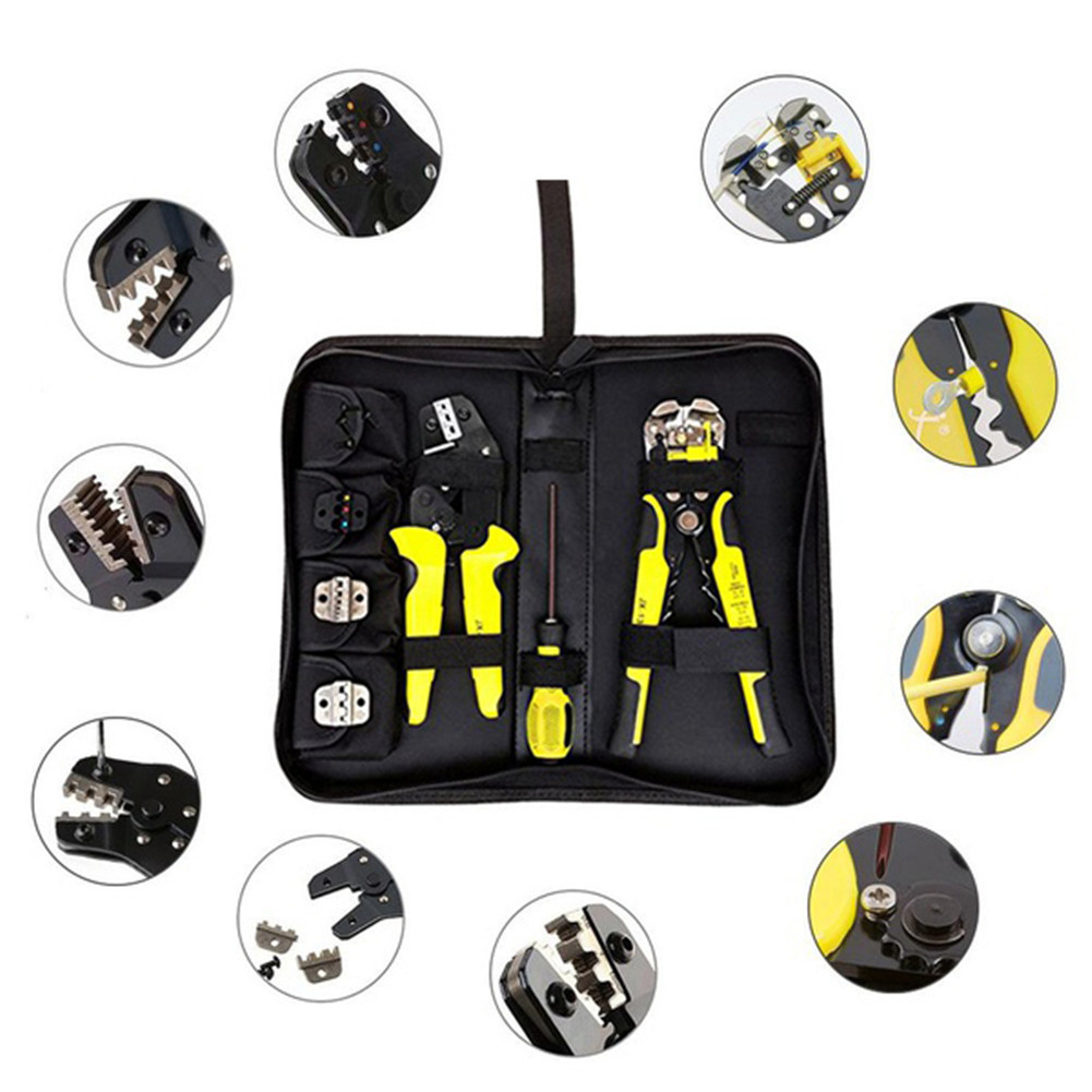 все цены на 4 In 1 Multi tools Wire Crimper Tools Kit Engineering Ratchet Terminal Crimping Plier Wire Crimper + Wire Stripper+S2 Screwdiver онлайн