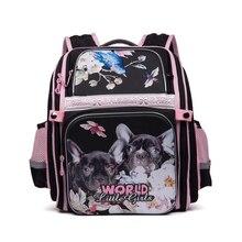 Cartoon cat hund wasserdichte nylon orthopädische rucksack kinder schultaschen für teenager mädchen schulranzen schule rucksack 1-4 grade