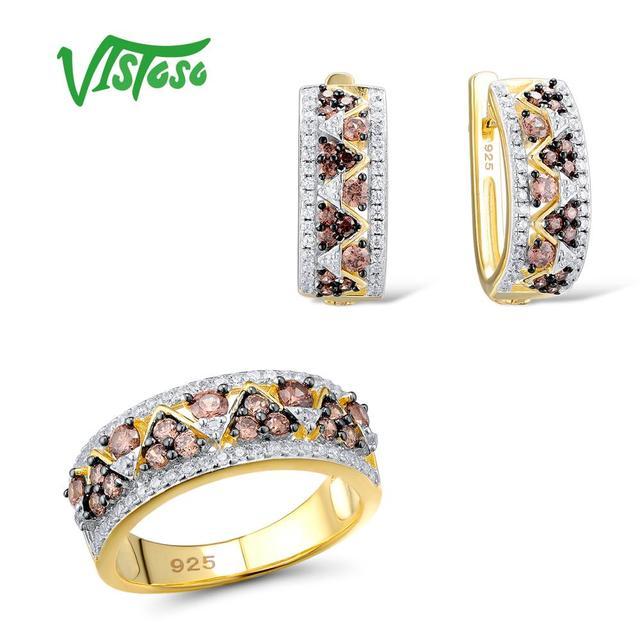 VISTOSO ensembles de bijoux pour femme chocolat cubique zircone pierres ensemble de bijoux boucles d'oreilles bague 925 en argent Sterling bijoux fins