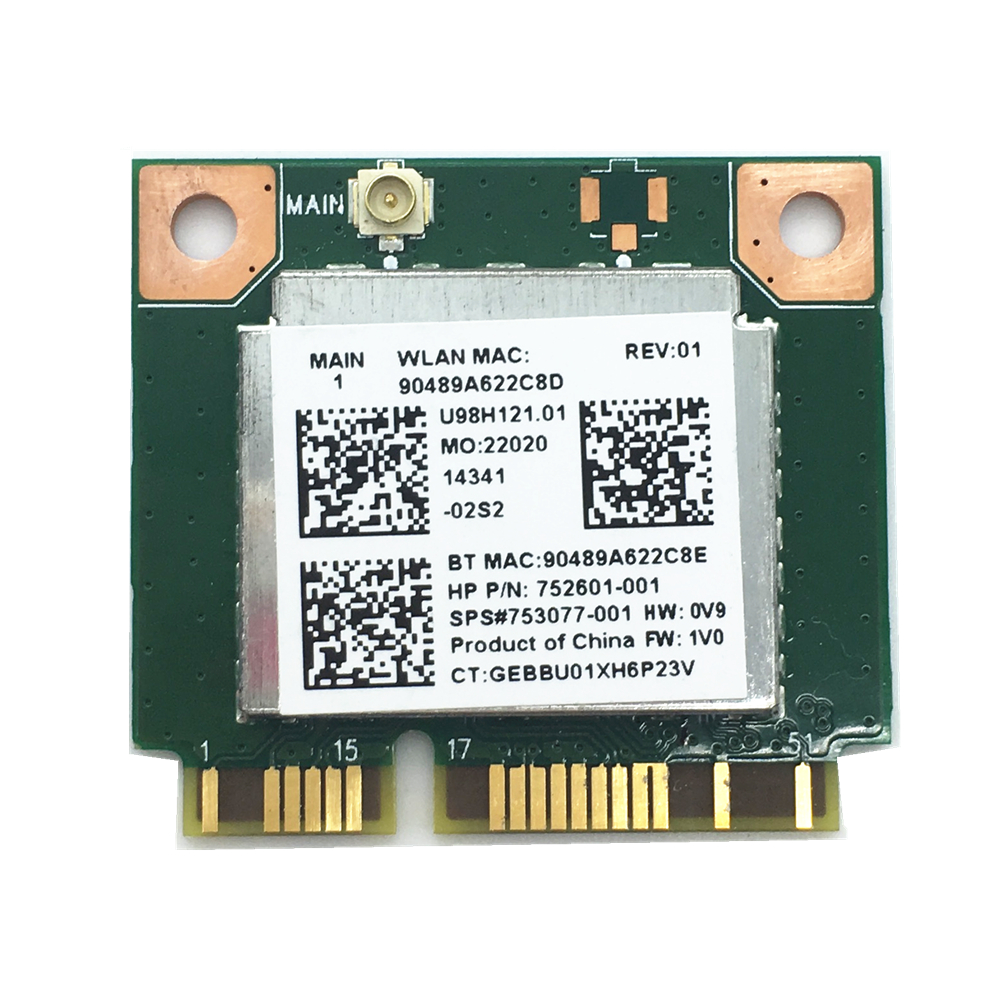 For RTL8723BE Wifi 300Mbps+Bluetooth 4.0 MINI PCI-E Card 753077-001 For 470 455 450 G2 Free Shipping