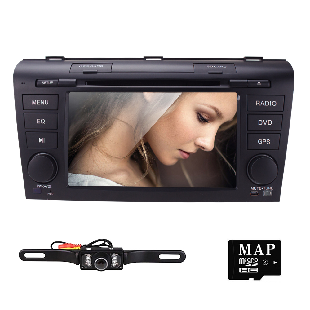Wince 6.0 Car DVD Player Fit Mazda 3 GPS Navigation 2Din Steering Wheel 800*480 3G Radio Bluetooth TV DAB+BOX DVB-T Rearview CAM