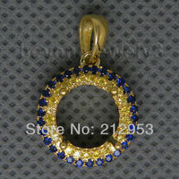 Jewelry Sets Vintage Round 9mm Solid 18Kt Yellow Gold Yellow Blue Sapphire Pendant WP007