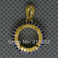 Vintage Round 9mm Solid 18Kt Yellow Gold Yellow&Blue Sapphire Pendant WP007