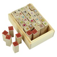 SDFC 40pcs Set Happy Life Diary Girl Cute Cartoon Mounted Rubber Stamp Wooden Box