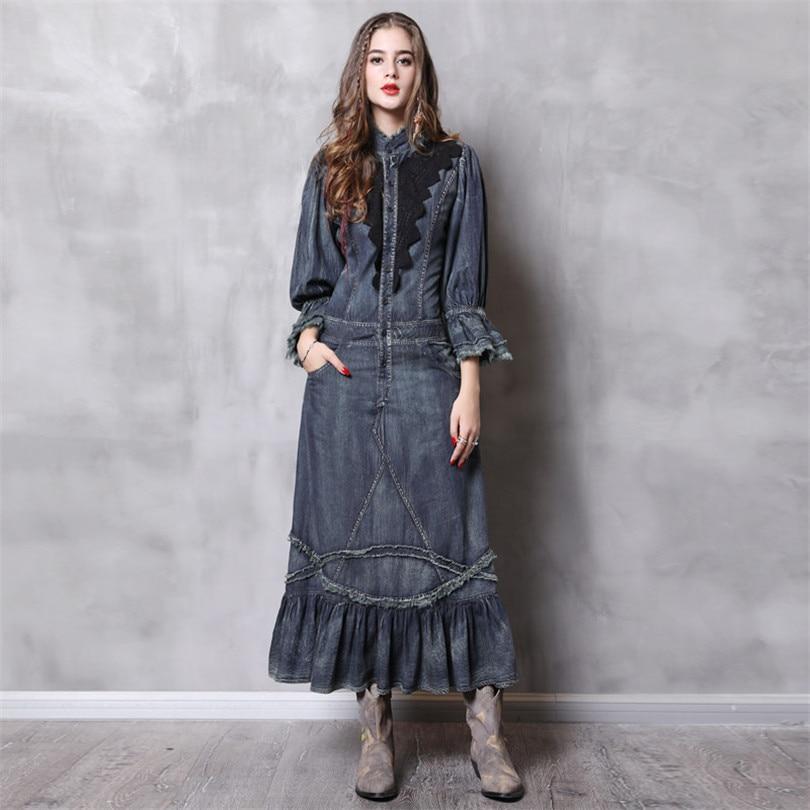 Vintage Robes Femme Denim Avec Poches Dentelle Femininos 2019 Montant Longue Femmes Robe Élégante Patchwork Col Printemps qd1X8wfnXr