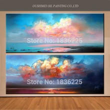 Wall Abstract Handmade High Quality Beautiful Landscape Sky Oil Painting On Canvas Decor