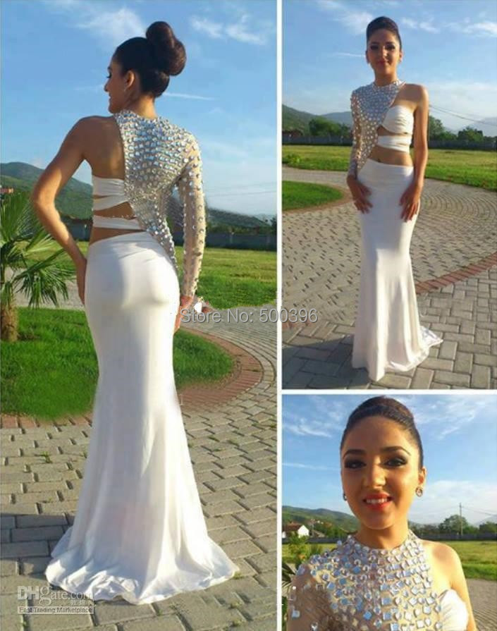 White Mermaid Prom Dress 2015 vestidos Unique Design Long Sleeve ...