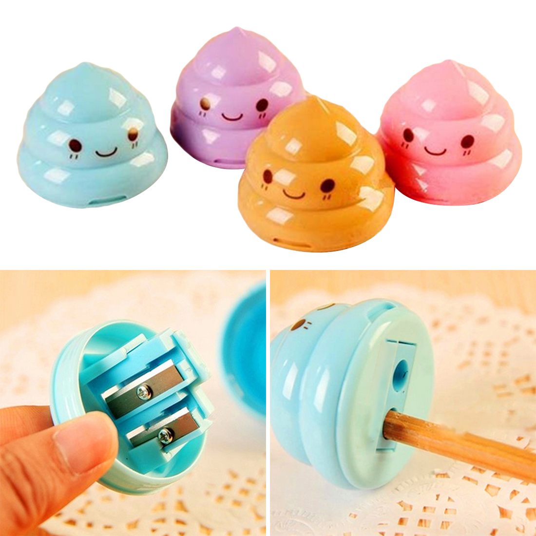 Back To Search Resultsoffice & School Supplies 1 Pc Kawaii Shit Pencil Sharpener Shape Mini Cutter Knife Double Orifice Promotional Originality Gift Stationery Random Color