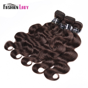 Image 3 - Moda bayan ön renkli perulu saç vücut dalga demetleri 100% insan saç örgüleri 2 # demetleri koyu kahverengi saç 3 paketler olmayan remy