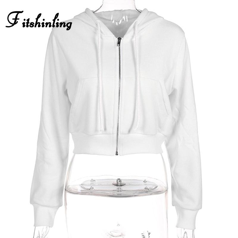 Fitshinling Zip-up autumn winter women hoodies pockets slim crop jacket female clothes drawstring white sexy hoody cotton coats 9