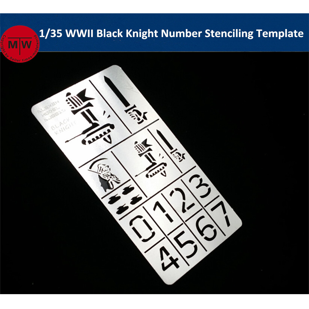 1/35 Scale WWII German Black Knight Number Stenciling Template Leakage Spray Plate Model Building Tools AJ0016