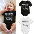 Niños recién nacidos del bebé muchacha de los mamelucos de algodón blanco infantiles del mameluco del mono manga corta carta ropa traje de verano 3 6 9 12 meses
