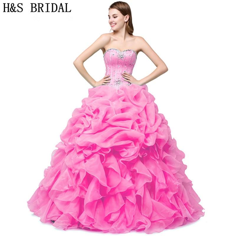 8ffa1f920 Verde menta Vestidos de quinceañera barato cristalino del amor rebordeó  Ruffles organza dulce 15 debutante Niñas mascarada Vestidos de baile en  Vestidos de ...