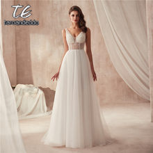 Wonderful See Through Crystals Top A-line Tulle Beach Wedding Dress V-neck Beading Destination Bridal Gowns(China)