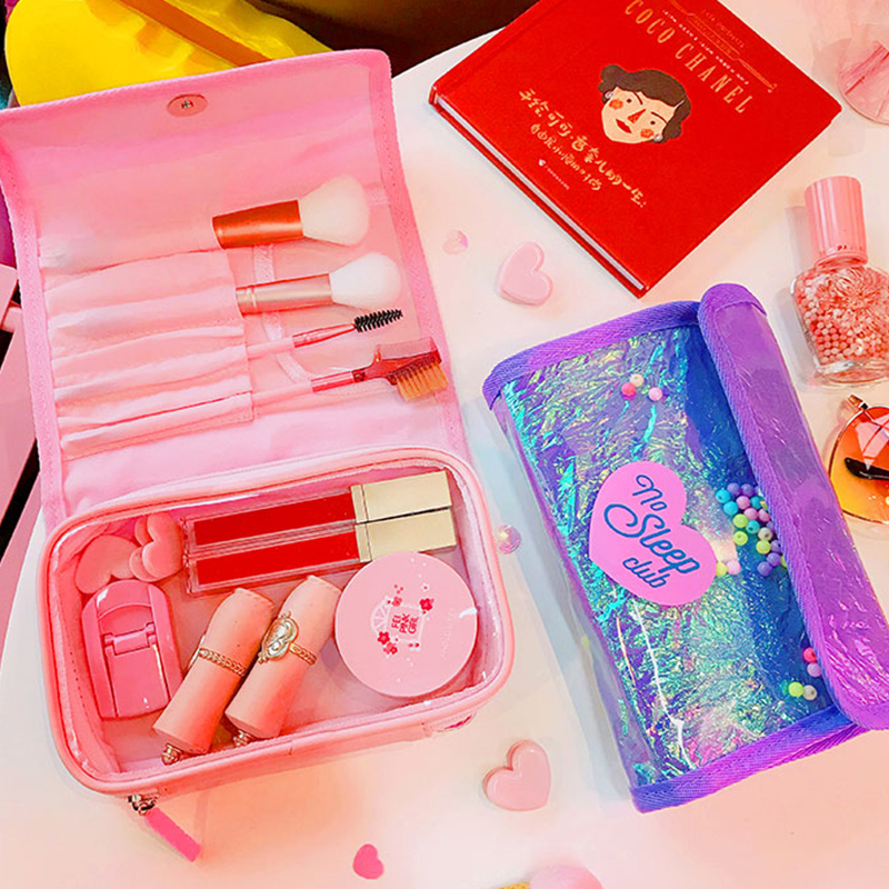 Portable women cute cosmetics bag fashion pvc make up brush case bag travel wash makeup toiletry holder storage bag pouch korean