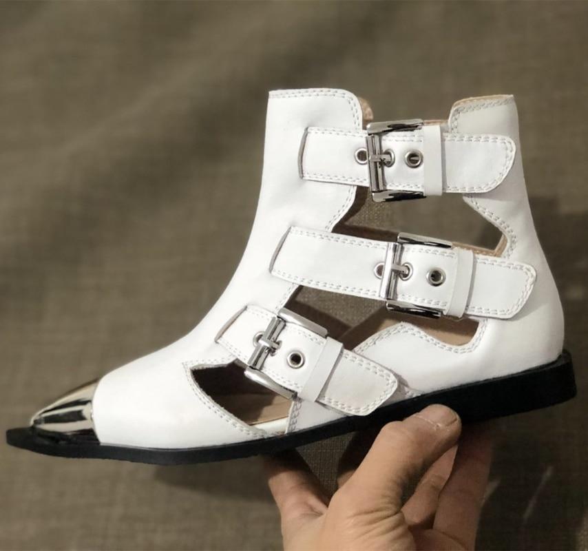 Zapatos De Rivets black white Hebillas Plano Remache Gladiador Punk Myfitgo Cuero Cinturón Punta White Primavera Botas Mujer Rivets Casuales black Damas Sandalias Metal HnxRwgIpqP