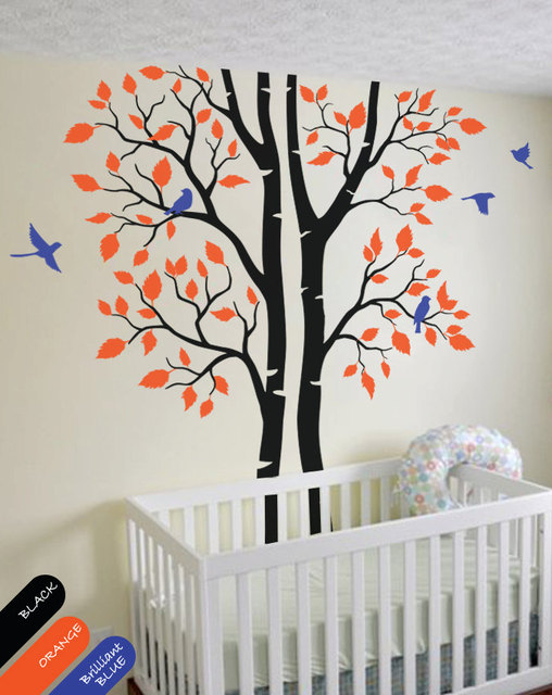 Custom Color Large Wall Tattoo Modern Baby Nursery Corner Trees Decal With Flying Birds And