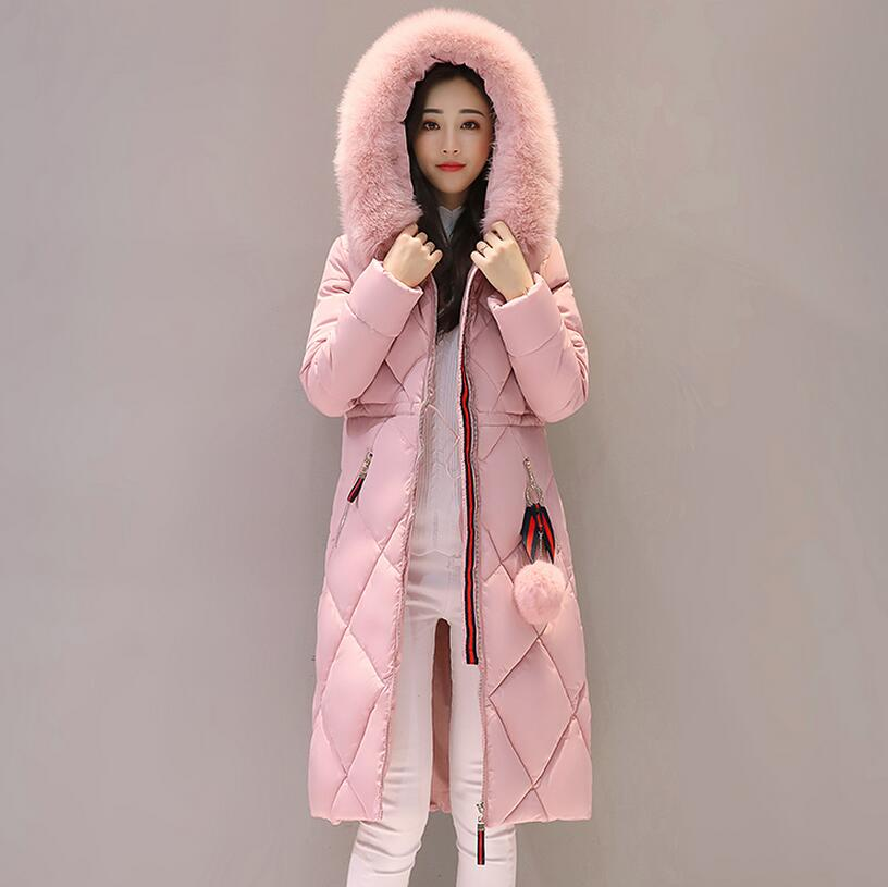2017 Winter Duck Down Jacket Women Long Coat Parkas Thickening Female Warm Clothes Rabbit Fur Collar High Quality Plus Size 3XL цены онлайн