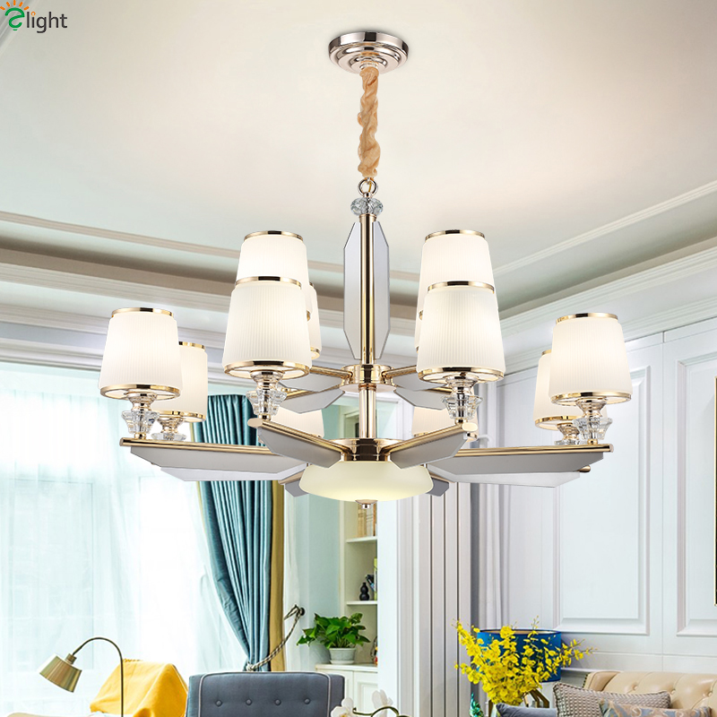 Modern Gold Metal Led Chandeliers Lighting Glass Living Room Led Pendant Chandelier Lights Acrylic Bedroom Hanging Lamp Fixtures modern glass ball led pendant chandelier lights metal living room led chandeliers lighting bedroom led hanging light fixtures