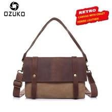 Фотография OZUKO High Quality Canvas Vintage Handbags Men Women Shoulder Bag Brand Designer Canvas With Crazy Horse Cowhide Crossbody bag