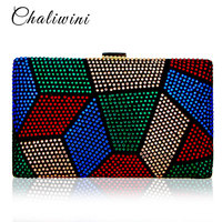 Chaliwini New Fashion Design Women Clutches Purses Ladies Crystal Evening Bags Two Side Party Handbag Female Wedding Clutch