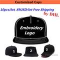 Wholesale 10PCS/LOT 89USD Custom Snapback Baseball Cap Hat  Adult Kid Men Women Print Embroidery Logo Fast Free Shipping