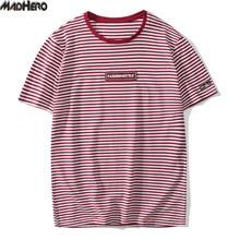 MADHERO Рубашка в полоску унисекс для отдыха мягкие высокое качество брендовая одежда хлопковые футболки молодежные мужские и женские Топы ко...(China (Mainland))