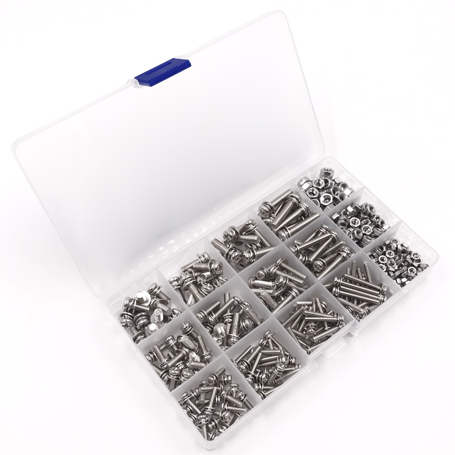 US $11 75 17% OFF|360 Pack 12 Sizes Phillips Pan Head Machine Screws Bolts  Nuts Lock Flat Washer Assortment Kit, Carbon Steel, M3 M4 M5-in Nut & Bolt