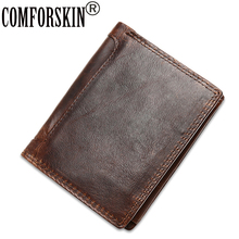 European And American Style 2017 Luxurious Genuine Crazy Leather Short Business Vintage Men Wallets Brand Retro Purses