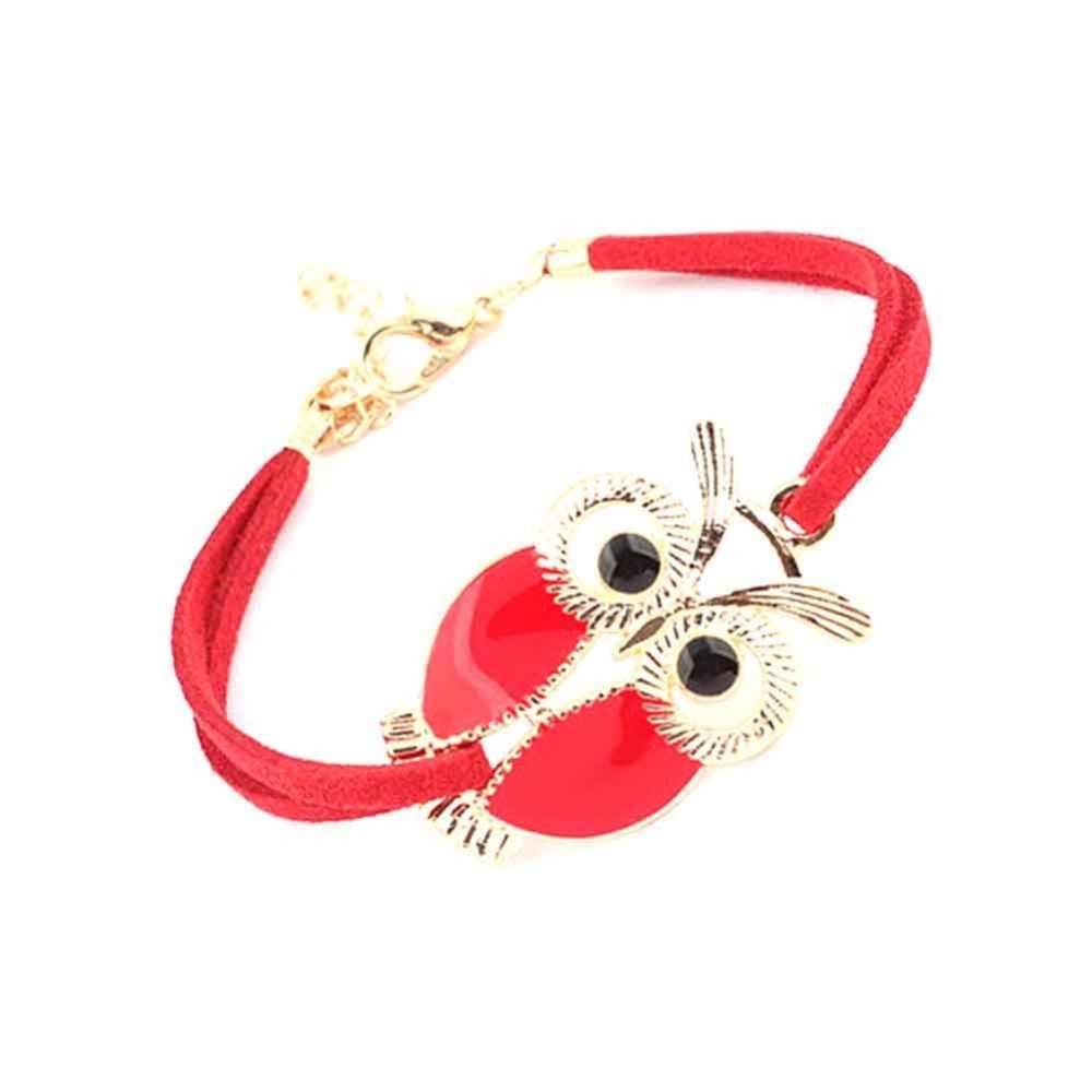 Punk projekt bransoletki dla mężczyzn kobiety nowa moda nadgarstek kobieta sowa skórzana bransoletka kamień biżuteria w stylu Vintage