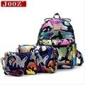 JOOZ Brand leather women Backpacks for teenage girls school bag Camouflage Print 3pcs Set Rucksack Feminine Travel Back Pack